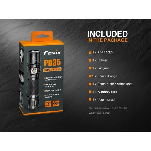 Fenix PD35 V2.0 1000 Lumen. LED Lommelygte